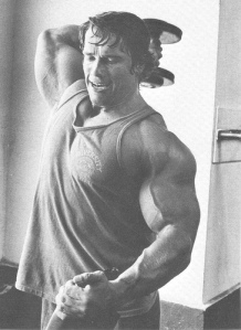 Schwarzenegger performing triceps extension
