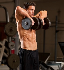 Standing dumbbell high rows