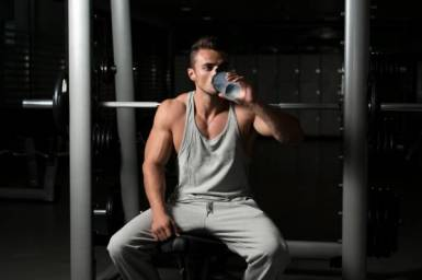 drinking water at the gym
