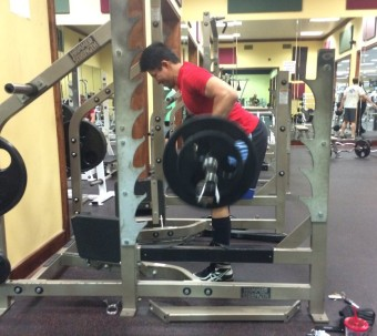 bent over rows in squat rack